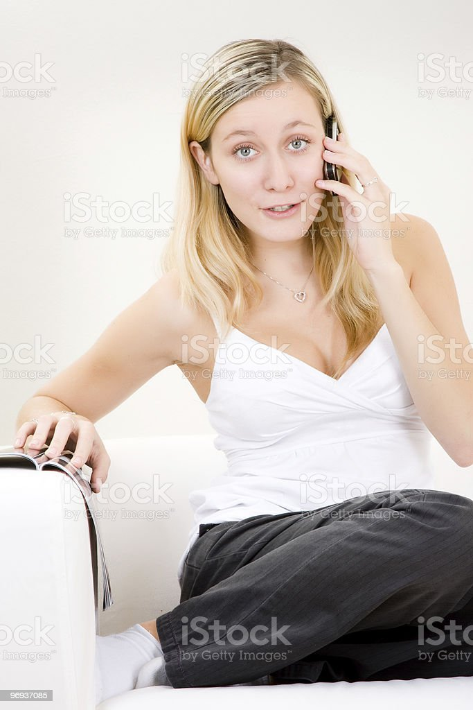 Girl on Cellphone royalty-free stock photo