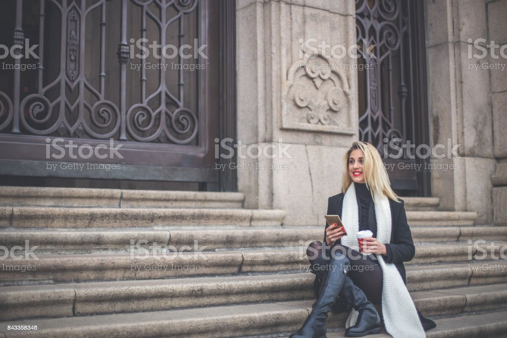 Girl on coffee break stock photo
