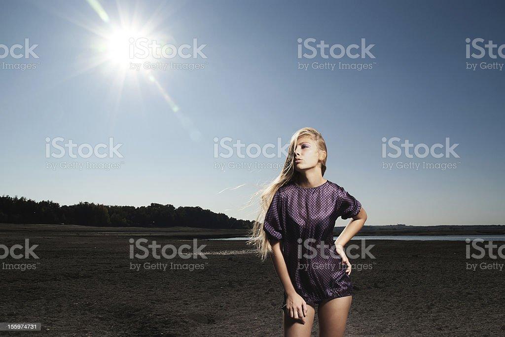 Girl on desert stock photo