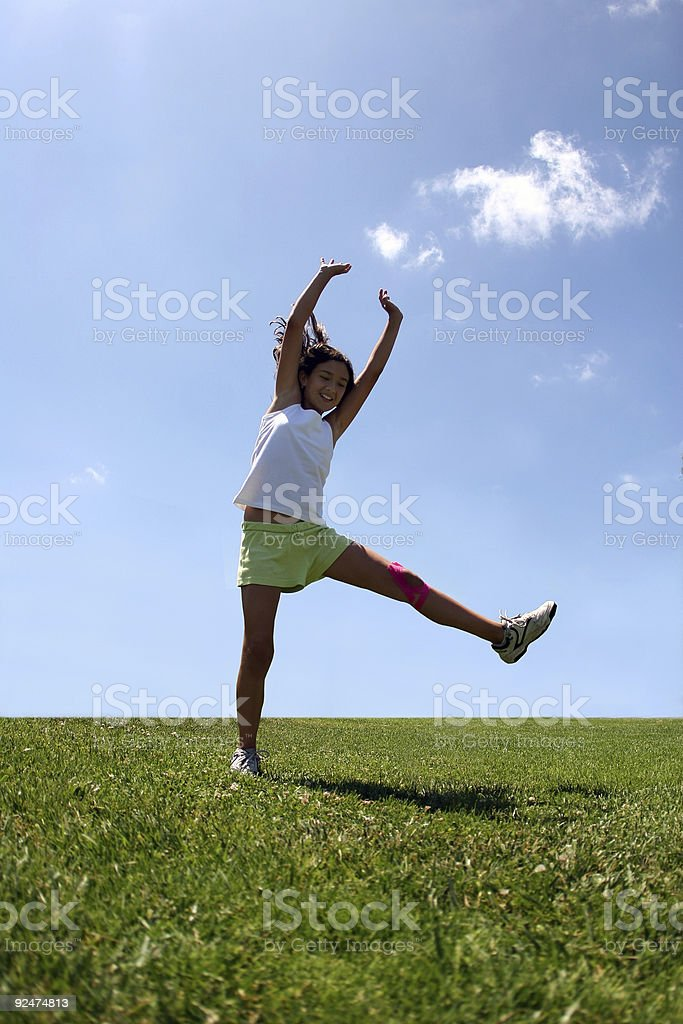 Girl on grass royalty-free stock photo