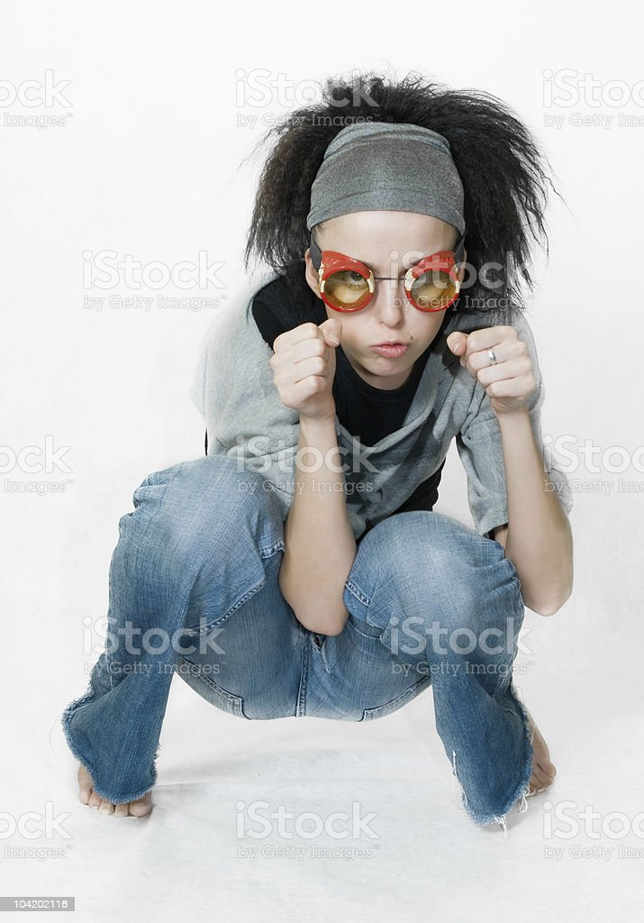 girl on gray background royalty-free stock photo