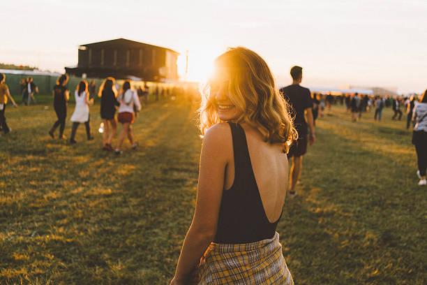 Girl on music festival stock photo