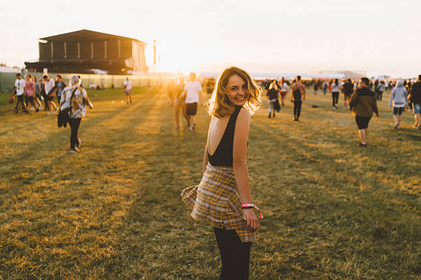 girl on music festival - traditional festival stock photos and pictures