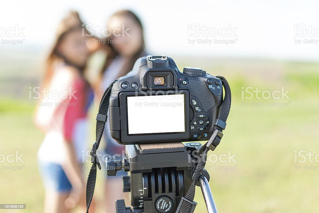 girl on screen of the camera royalty-free stock photo