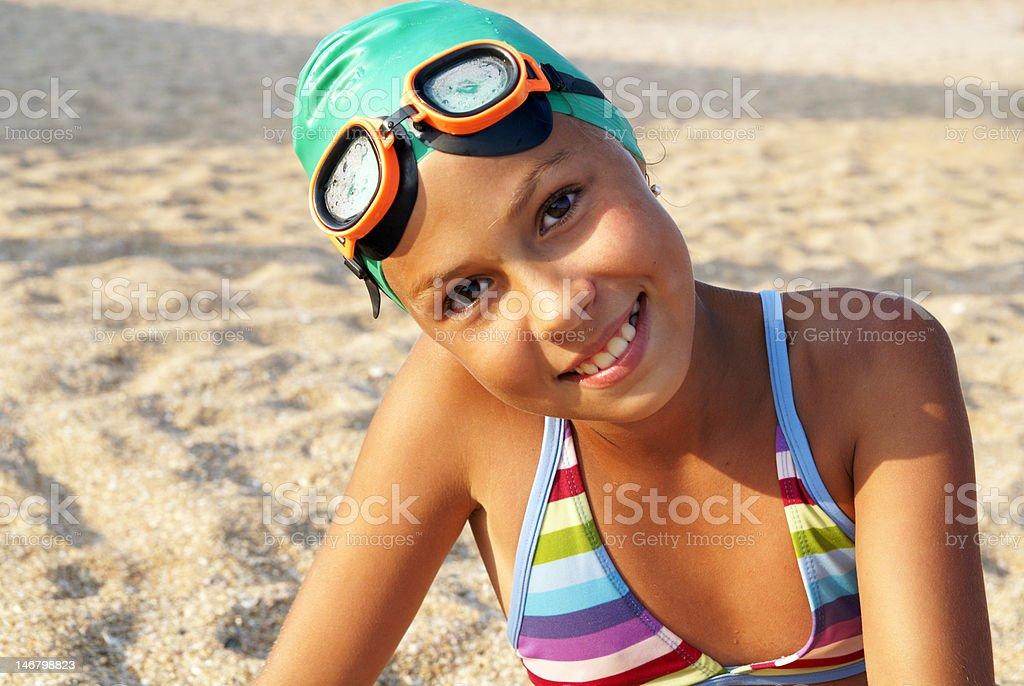 Girl on sea beach royalty-free stock photo