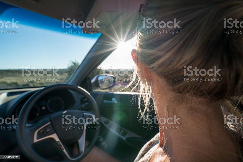 Girl on self drive safari royalty-free stock photo