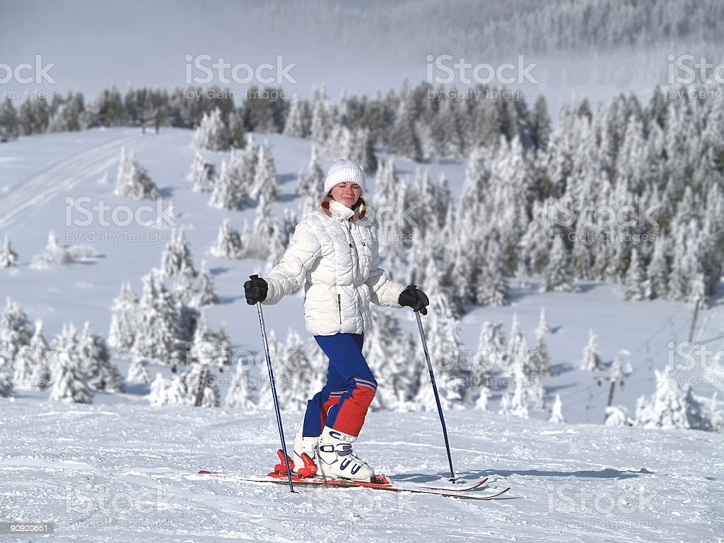 girl on slope royalty-free stock photo
