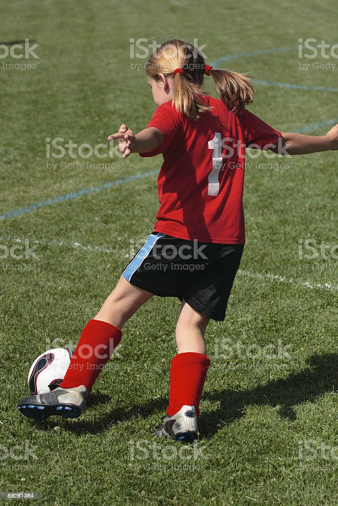 Girl on Soccer Field 45 royalty-free stock photo
