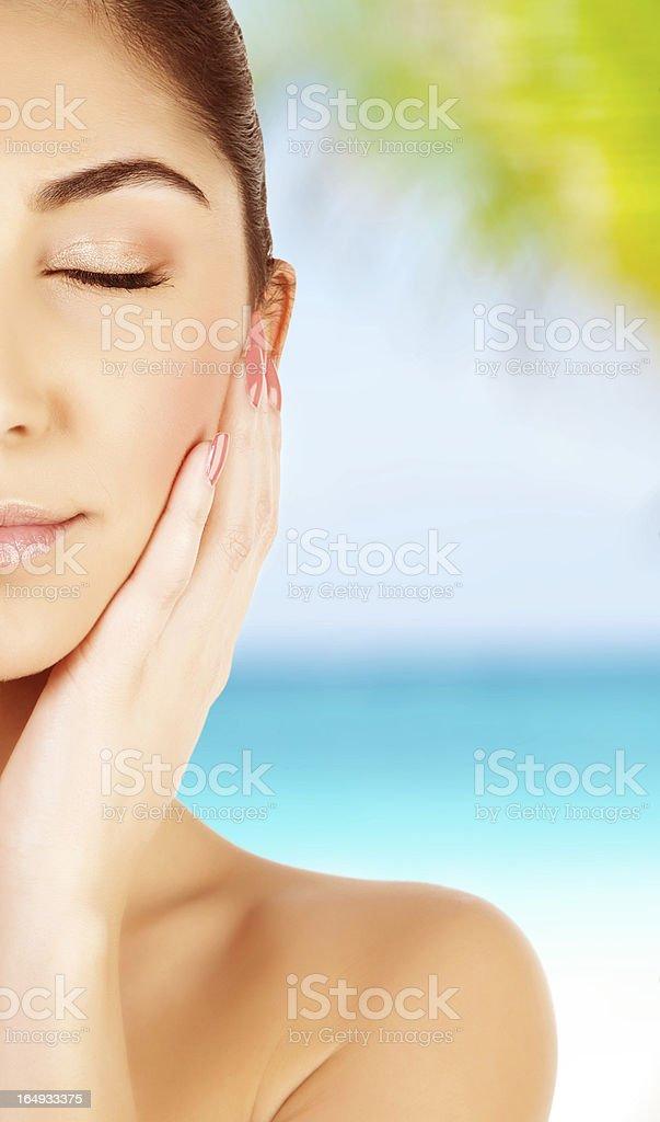 Girl on spa resort royalty-free stock photo