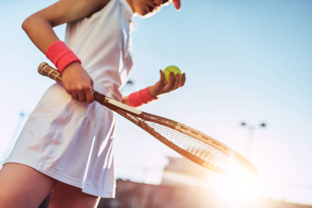 girl on tennis court. - tennis stock pictures, royalty-free photos & images