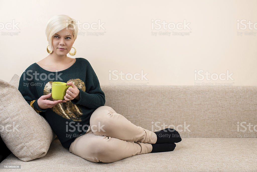 Girl on the bed. royalty-free stock photo