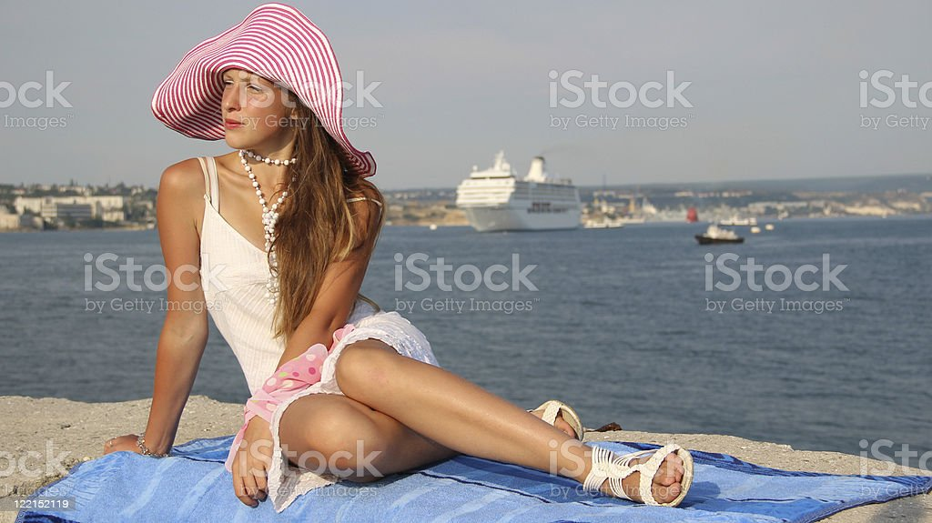 girl on the coast royalty-free stock photo