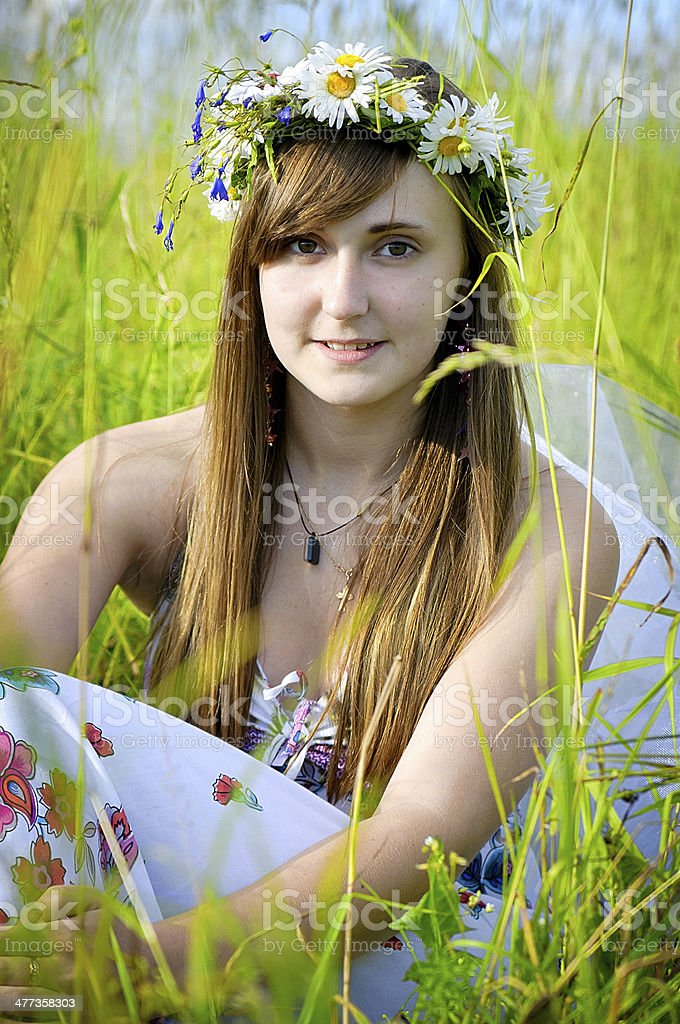 girl on the haymaking royalty-free stock photo