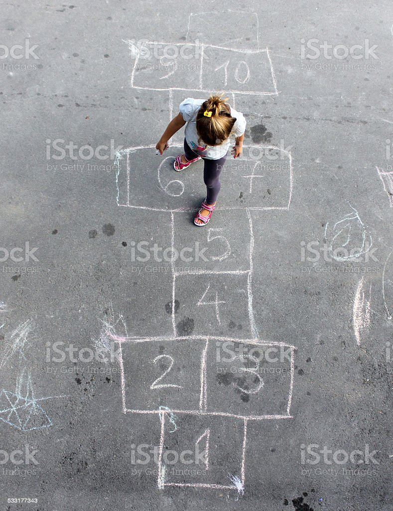 Girl on the hopscotch stock photo