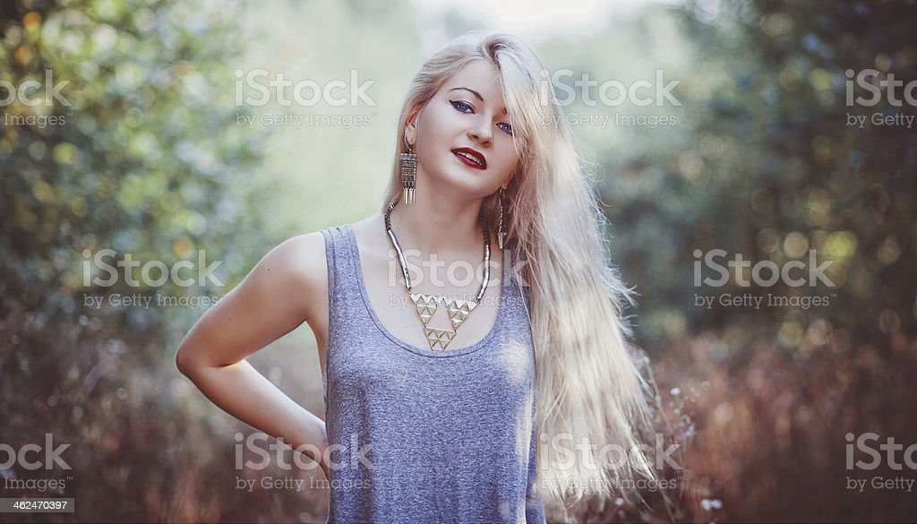 girl on the nature stock photo