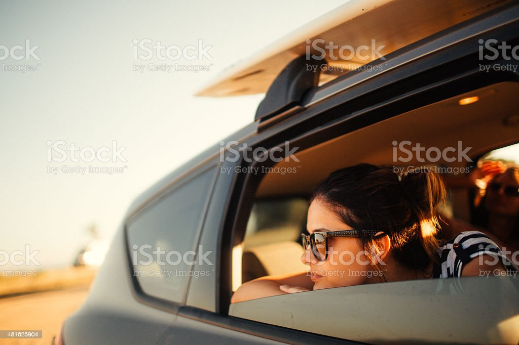 Girl on the road trip stock photo