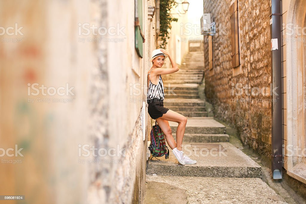 Girl on walk in old town royalty-free stock photo
