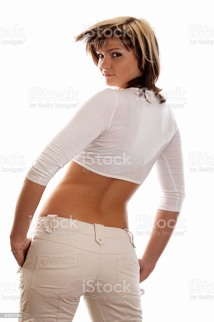 Girl on white background royalty-free stock photo