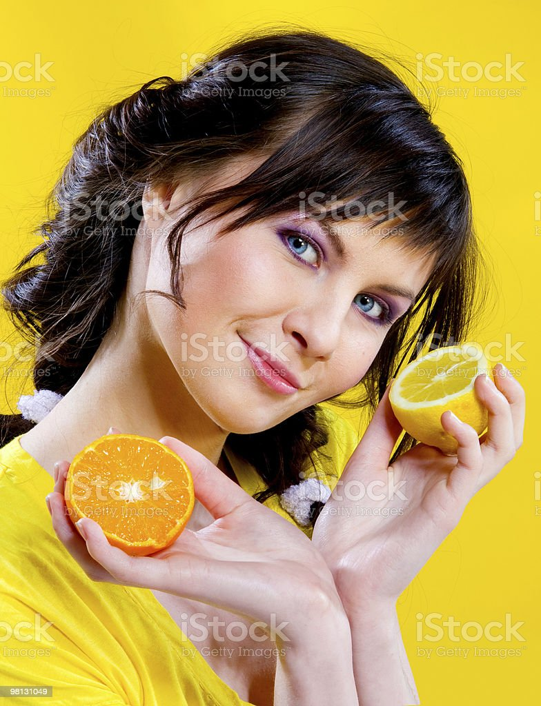 girl on yellow background royalty-free stock photo