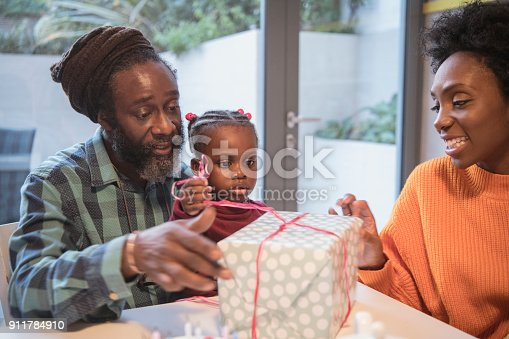 Mature man with granddaughter sitting on his lap, girl pulling ribbons on gift, mother smiling
