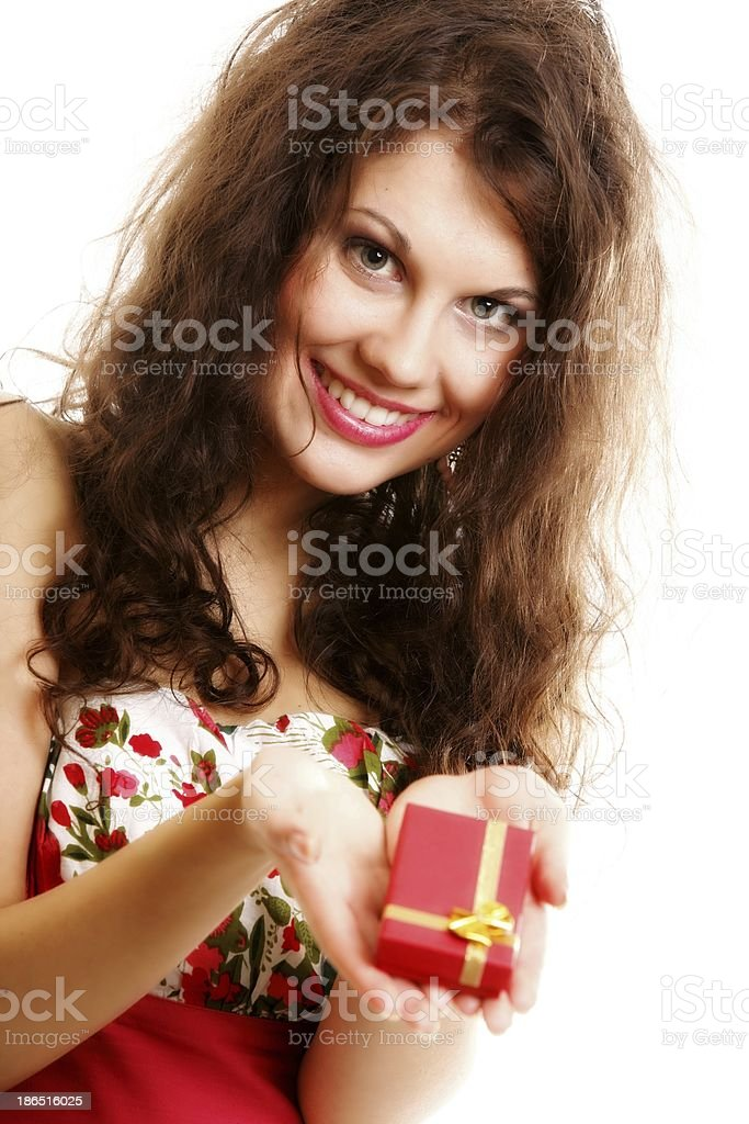 Girl opening small red gift box isolated royalty-free stock photo
