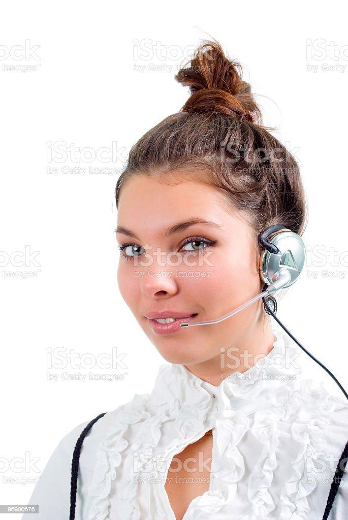 girl operator .Isolated royalty-free stock photo