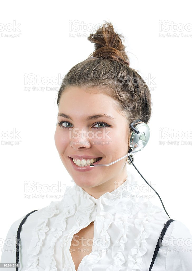 girl operator .Isolated royalty-free stock photo