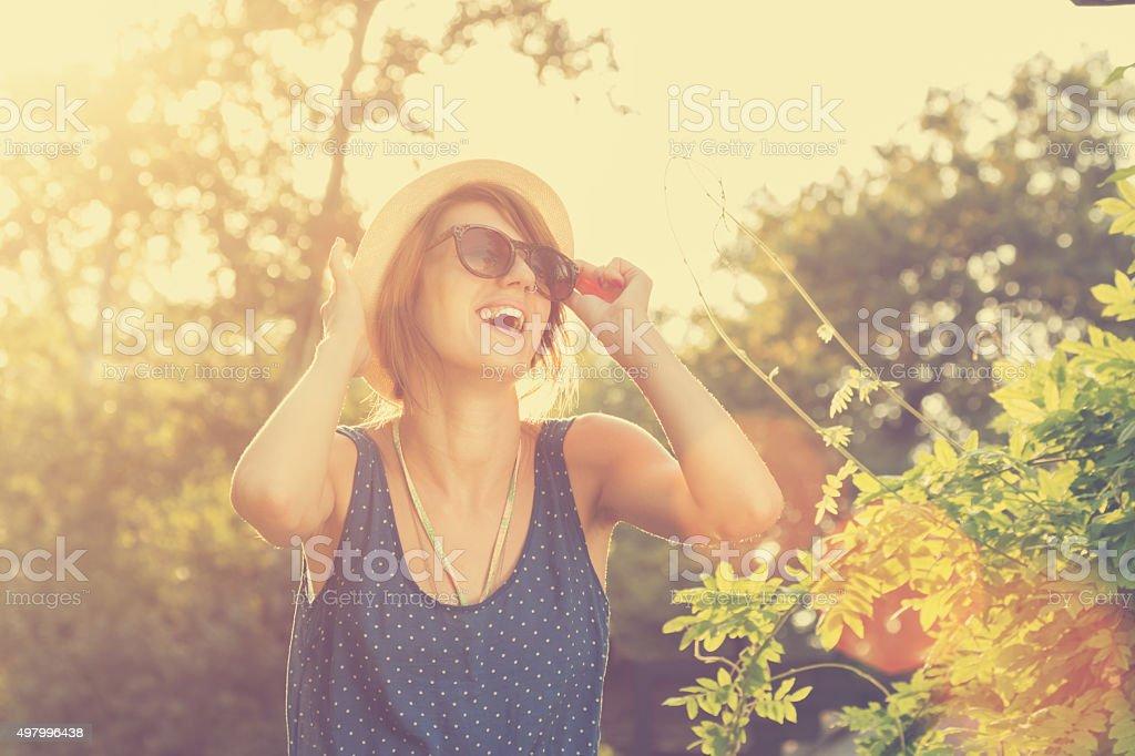 Girl outdoors. stock photo