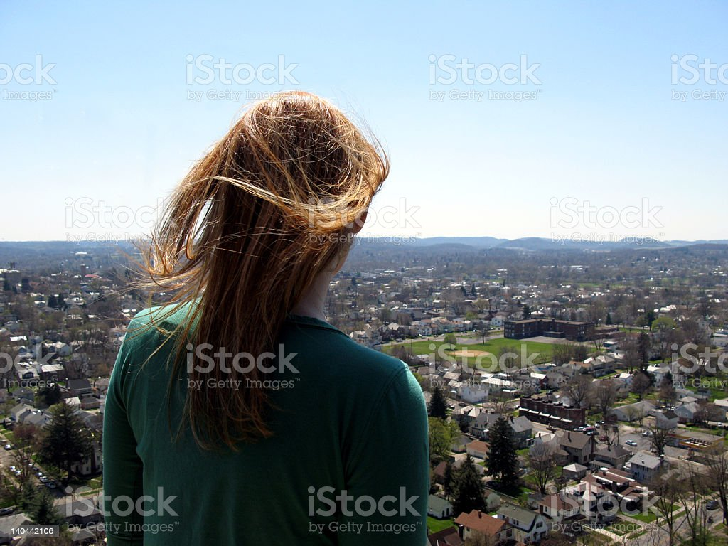Girl over looking city royalty-free stock photo