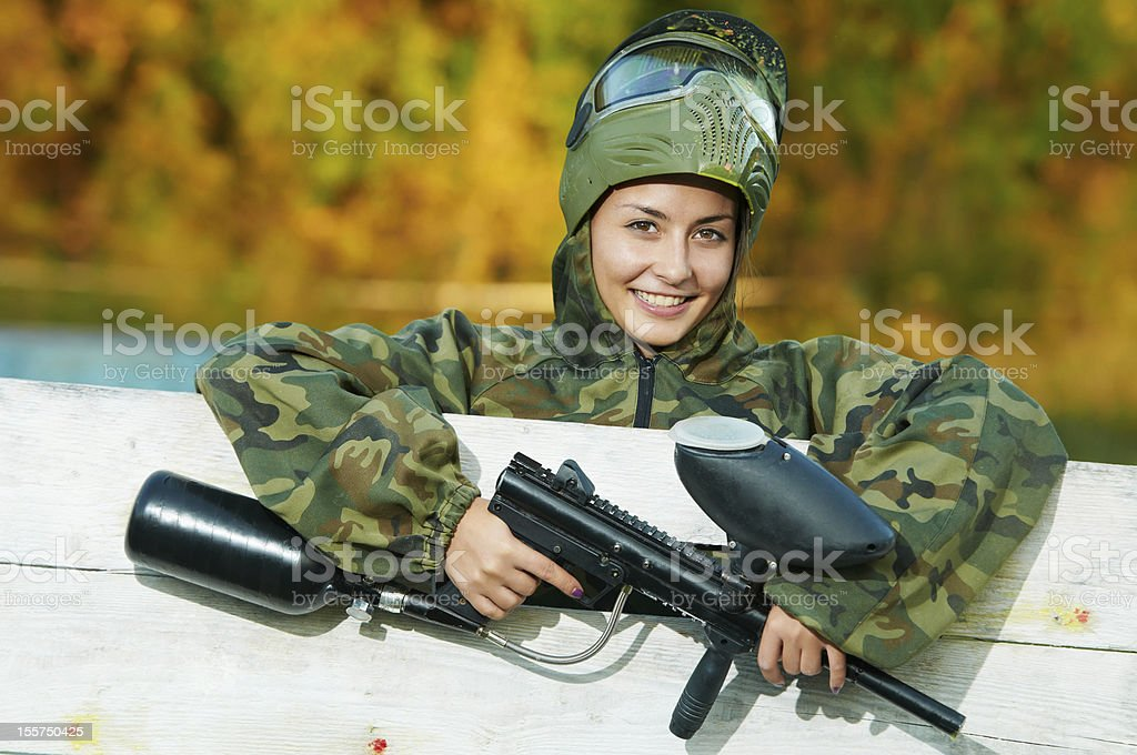 girl paintball player royalty-free stock photo