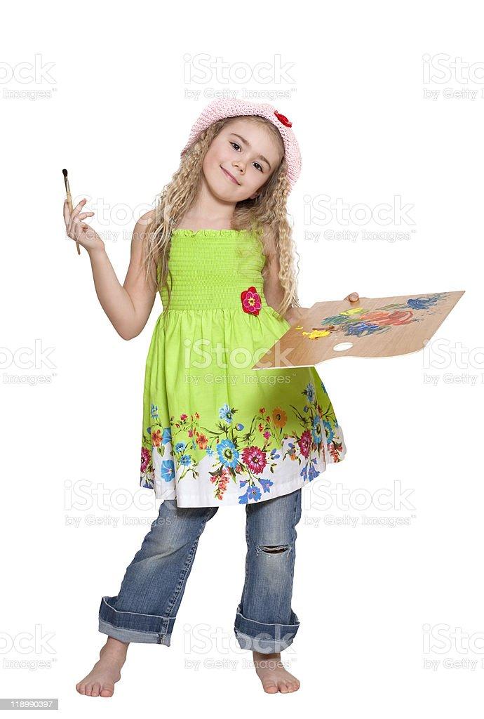 Girl painter stock photo