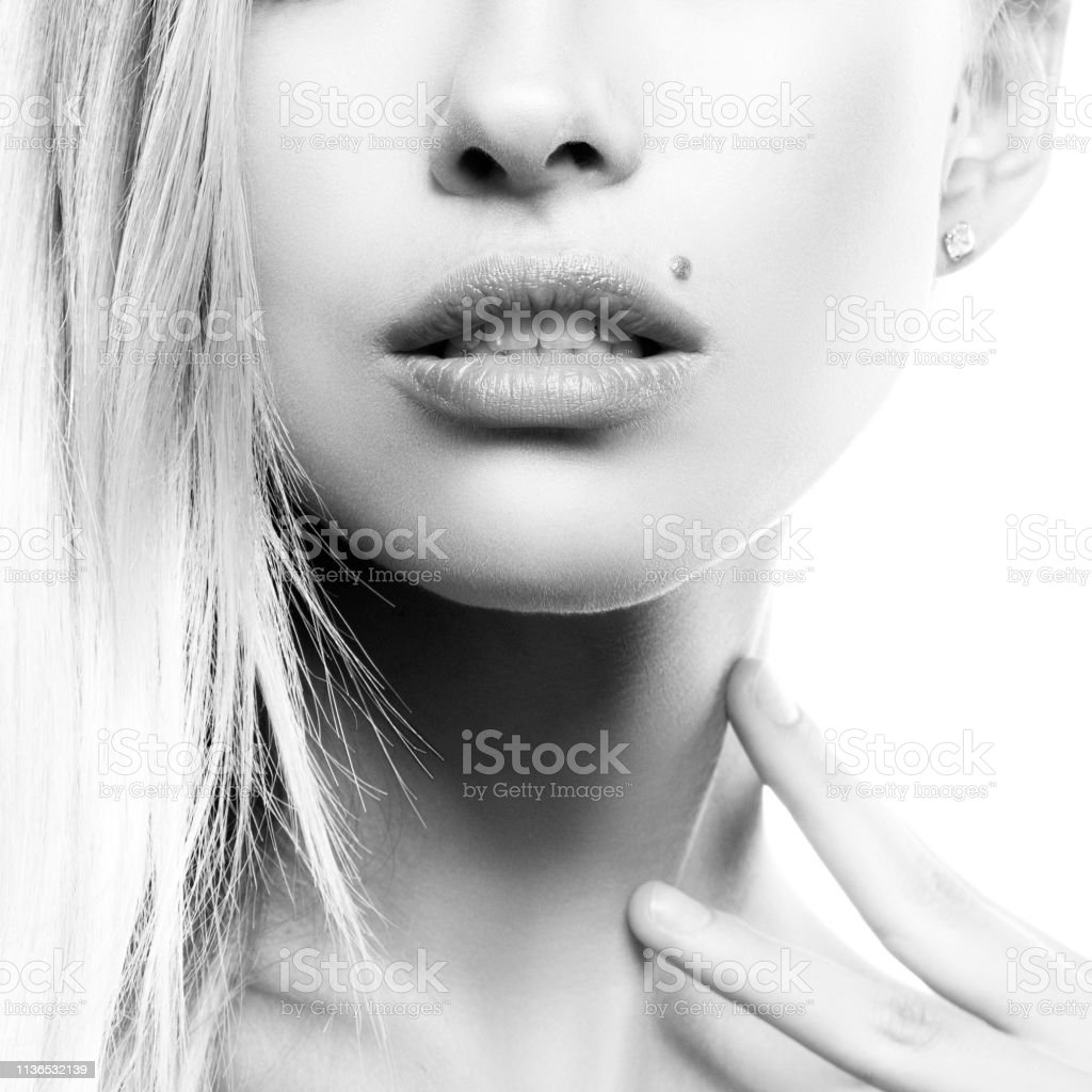 Girl part of face perfect skin beauty spot natural lips nude