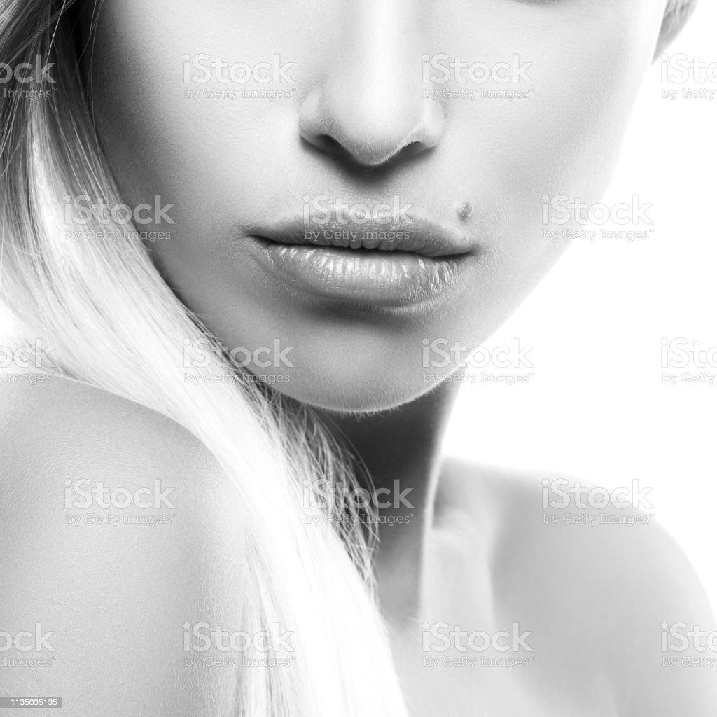 Girl part of face sensual girl lips shoulders clean skin
