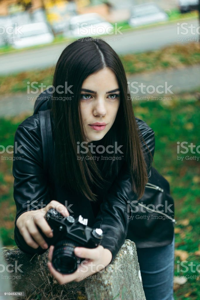 Girl photographer royalty-free stock photo