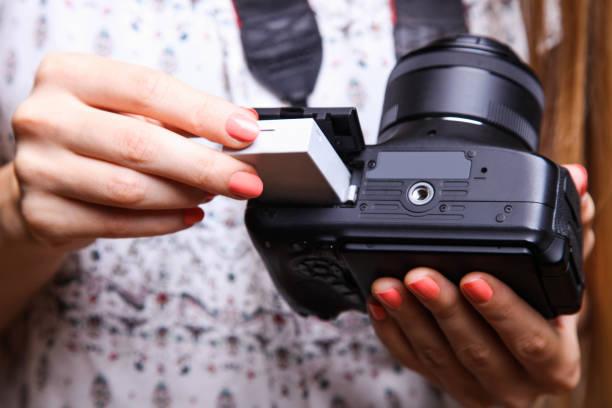 Girl photographer with reflex camera stock photo