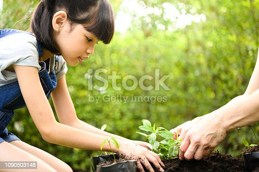 istock A girl planting young plants on soil 1090503148