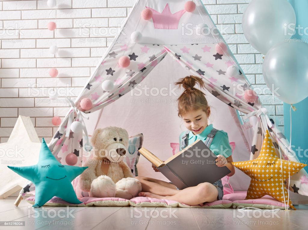 girl play at home stock photo