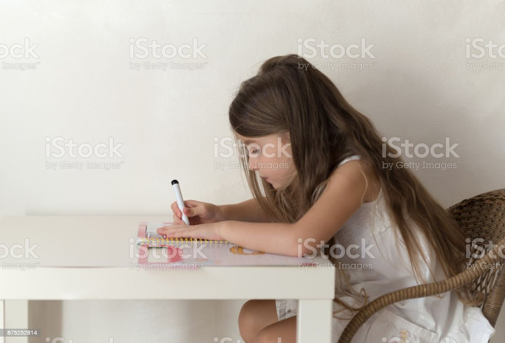 Girl playing at home stock photo