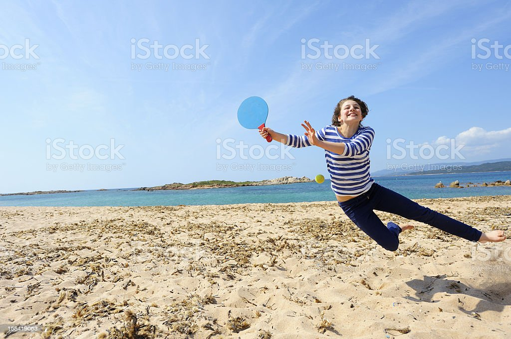 Girl Playing Beach Ball stock photo