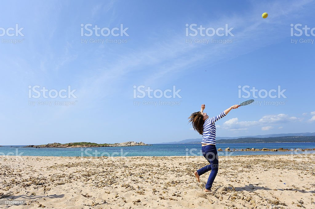 Girl Playing Beach Ball royalty-free stock photo