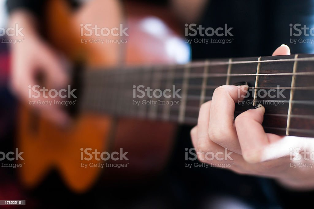 Girl Playing Guitar royalty-free stock photo
