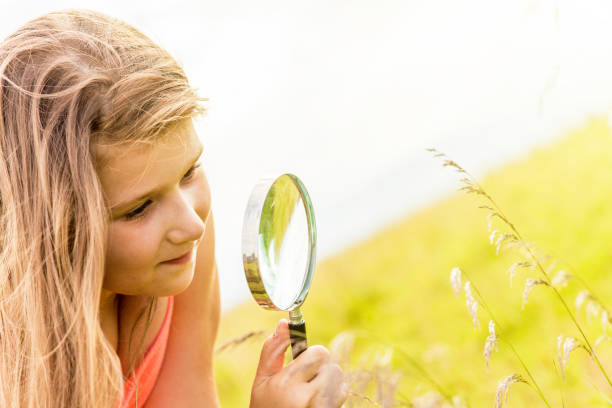 Girl playing in a meadow with a magnifier stock photo