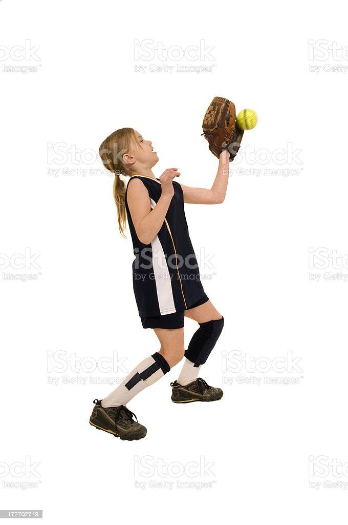 girl playing softball stock photo