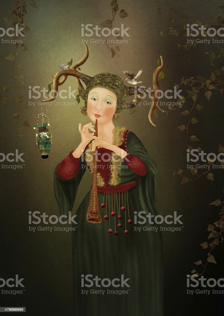 Girl playing the flute stock photo