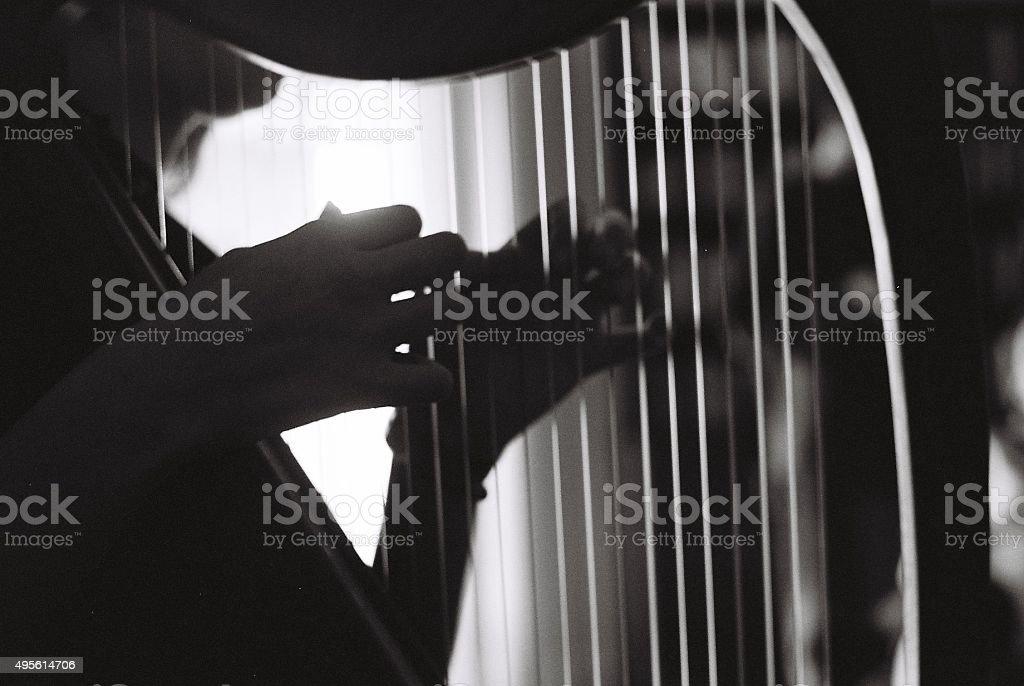 Ragazza suona l'arpa - foto stock