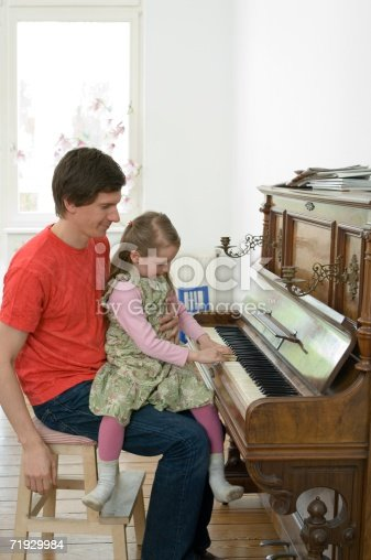 istock Girl playing the piano with her father 71929984
