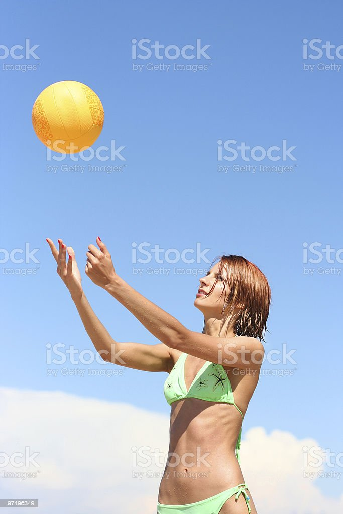 girl playing volley-ball royalty-free stock photo