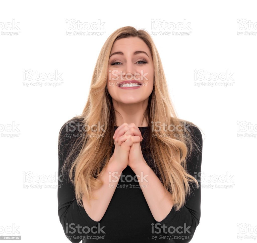 Girl pleading over white background. stock photo