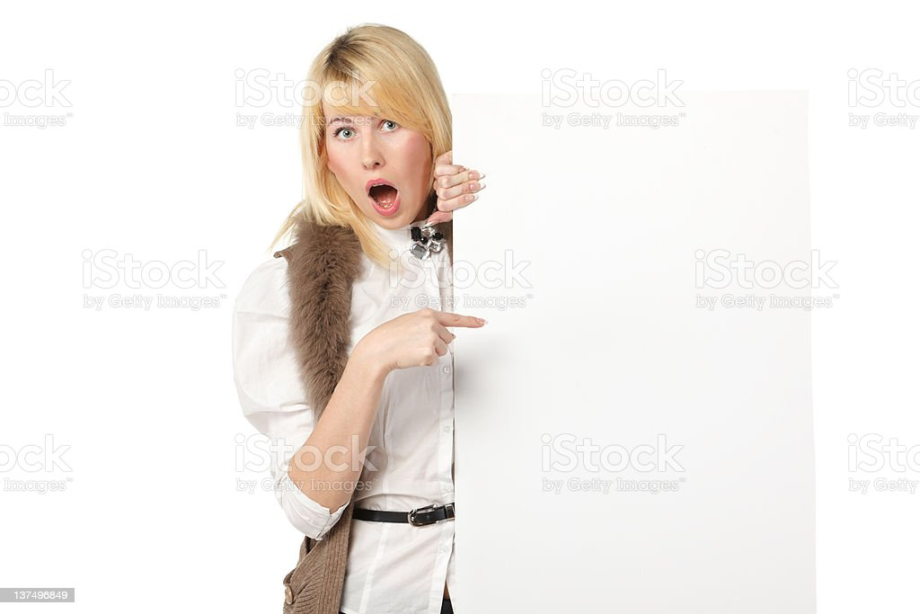 Girl pointing at blank banner royalty-free stock photo