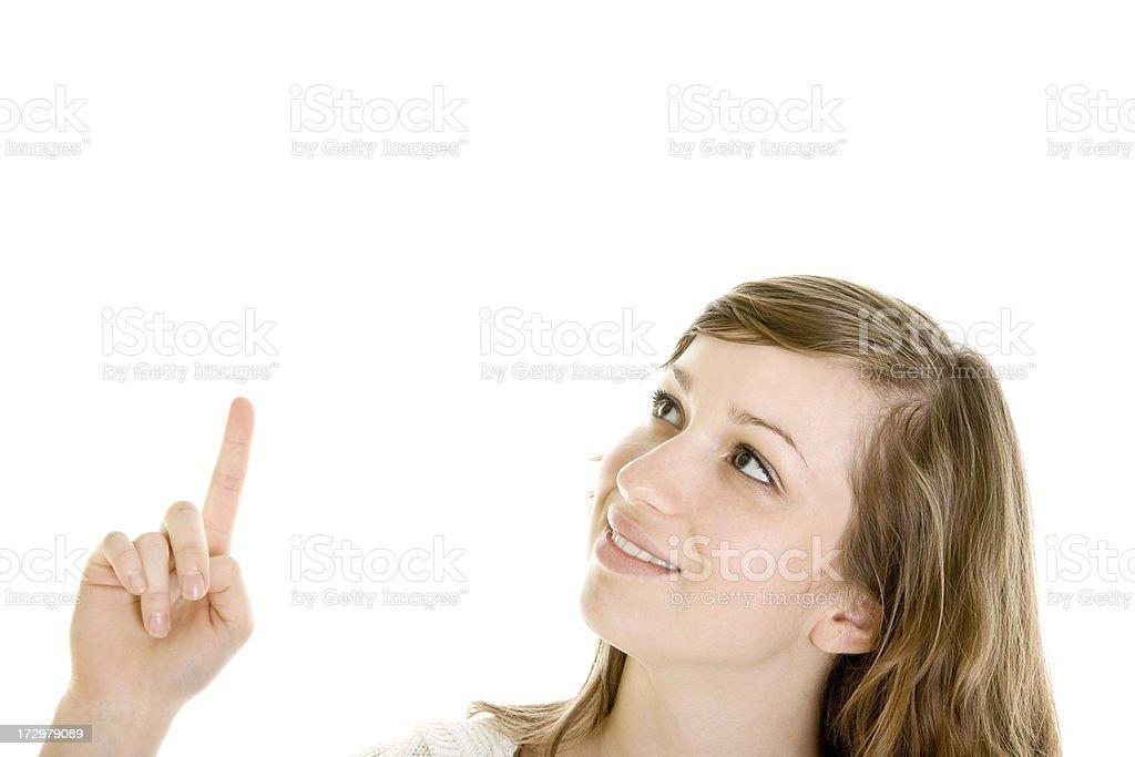 Femme pointant à quelque chose - Photo